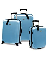 Travelers Choice Freedom Lightweight Hard-Shell Spinning Rolling Luggage Set, Large, 3-Piece (Arctic Blue)