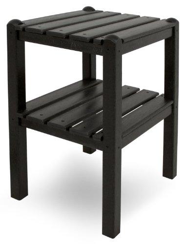 POLYWOOD TWSTBL Two Shelf Side Table, Black