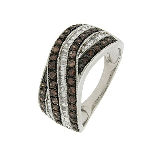Diamond Criss Cross Ring - 1.0 cttw Brown and White Diamond Criss Cross 925 Sterling Silver Ring Size 7