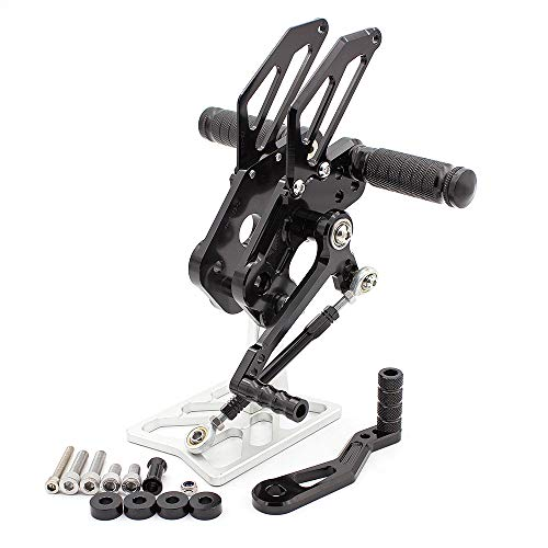 FXCNC Racing CNC Billet Motorcycle Adjustable Rearsets Foot Pegs Rear Set Fit For Kawasaki Z125 Pro 2016 2017 ()