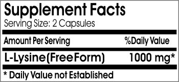 L Lysine Free Form 1000mg 200 Capsules Gluten FREE 100% Natural. Serene Dew Supplements