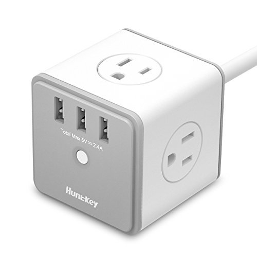 Huntkey 4 Outlets Surge Protector with 3 USB Ports (5V 2.4A with Smart IC Technology), 5-Foot Heavy Duty Extension Cord, SMC407