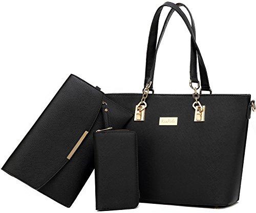 Women Tote Handbag + Envelopes + Wallet 3 Piece Set Bag Shoulder Bag for Work (Black) (Wallet Purse Bag Tote)