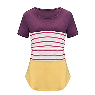 ANJUNIE Tunic Tops for Breastfeeding,Women Maternity Short Sleeve Striped Nursing T-Shirt Tee: Clothing