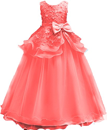 Shiny Toddler Little Girls Princess Birthday Party Ball Gown Floor Length Dress 5-6,Coral