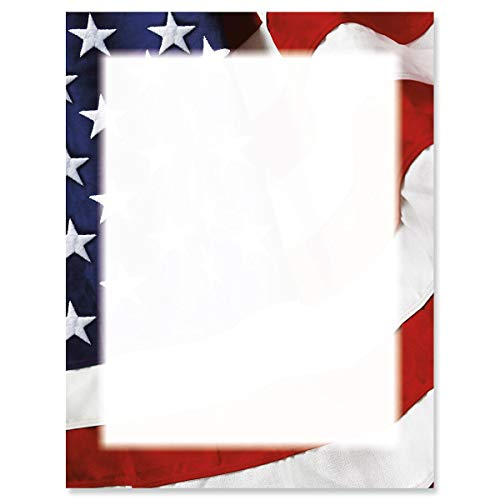 (Grand Ol' Flag Patriotic Letter Papers - Set of 25, American Flag stationery papers, 8 1/2