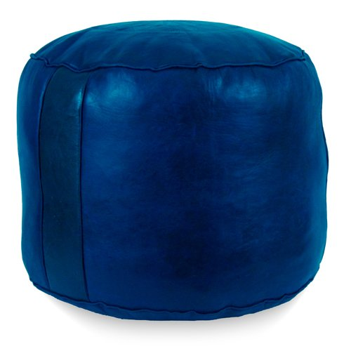 IKRAM DESIGN Tabouret Fez Pouf, Navy Blue, 18-Inch by 15-Inch