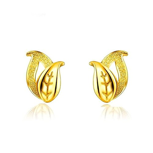 Beydodo 2.83g 24K Yellow Gold 999 Stud Earrings for Womens Frosted leaves Earrings Stud for Wedding by Beydodo