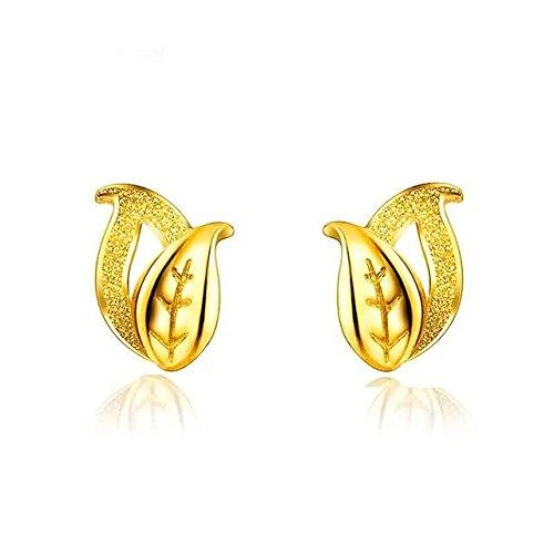 Beydodo 2.82g 24K Yellow Gold 999 Stud Earrings for Womens Frosted leaves Earrings Stud for Wedding by Beydodo