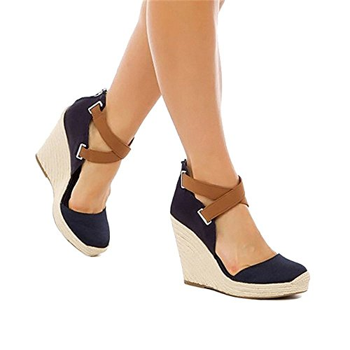 Wedges Shoes for Women Espadrilles Navy Blue Heels Ferbia Ankle Strap Fall Summer Sandals