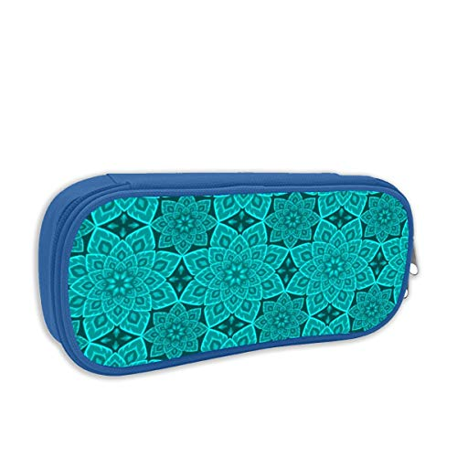 06211893 S84 Fire Mandala Cyan Teal Blue_1975 Desk Organizer Pencil BoxPencil Pouch Bag Stationery Pen Case with Zipper ClosurePink