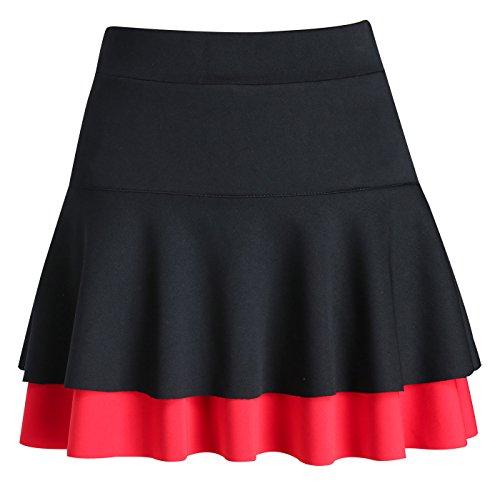 colire Jupe Jupe Mode Taille Double Femme Haute Skirt Basique t Plisse FEOYA 4XL Noir Patineuse Courte XL 5BqvzI