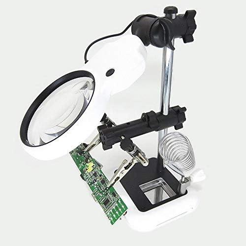 照明付 拡大鏡 はんだ付けスタンド クランプクリップ付 精密作業用 LEDライト ルーペ