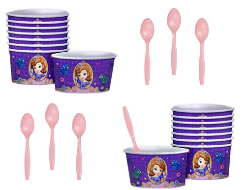 Sofia The First Paper Ice Cream/Dessert/Snack Serving Bowls With Spoons - 24 Total