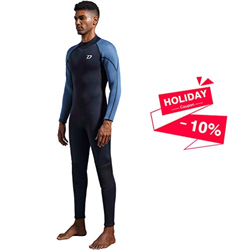 Dark Lightning Premium CR Neoprene Wetsuit, 2018 Mens Long Sleeves Scuba Diving Thermal Wet Suit in 3/3mm, Full Suit (Men