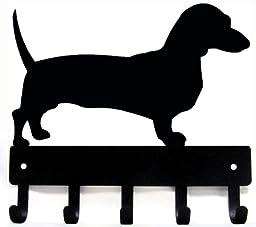Dachshund Key Rack/ Dog Leash Hanger - Artisan Metal Shop Gifts - SMALL 6 inch wide