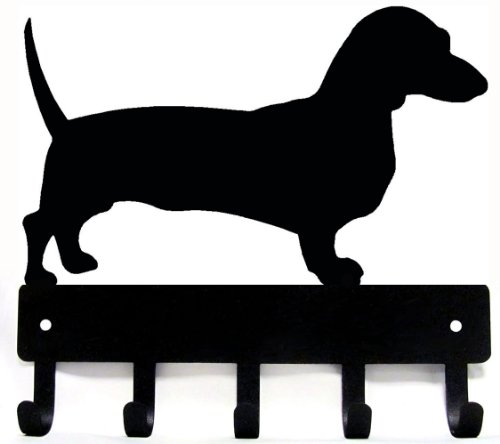 The Metal Peddler Dachshund Key Rack/Dog Leash Hanger with 5 hooks - SMALL 6 inch (Dachshund Wall)