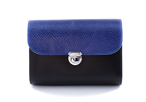 Vera Pianura Snake Pelle Borsa Nero Con Patterned Leather A Blu Tracolla Croce Serpente Di Satchel To Corpo Regolabile Stampare Chiusura Z E Fibbia Piccolo BPwx0q