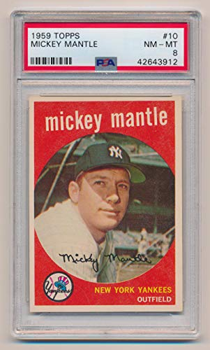 - 1959 Topps Mickey Mantle #10, PSA 8. Near Mint - Mint, Rare