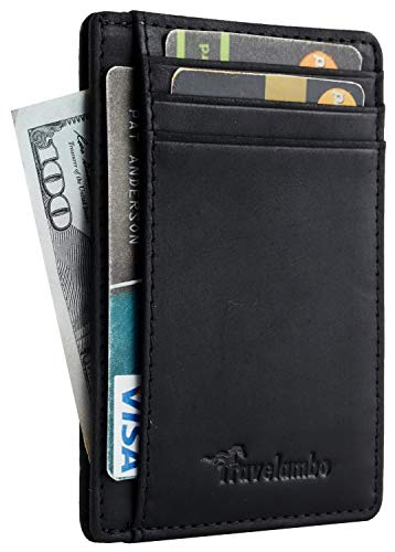 Travelambo Front Pocket Minimalist Leather Slim Wallet RFID Blocking Medium Size(03 crazy horse black)