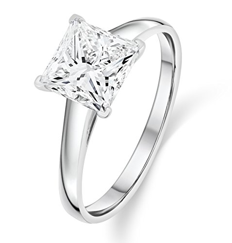 Buy Jewels 14k Gold Solitaire Princess Cut AAA+ Cubic Zirconia Engagement Ring (White-Gold, 7.5)