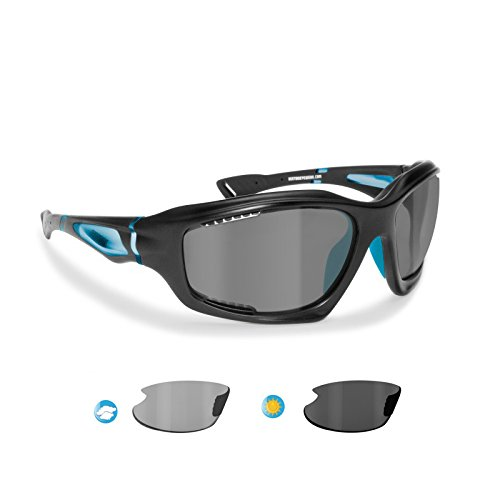 Sports Sunglasses Polarized Photochromic for Cycling Mtb Ski Fishing Watersports Golf Running and Outdoor Activities - P1000FT Windproof Wraparound Glasses by Bertoni Italy (Mat - Mtb Sale Goggles