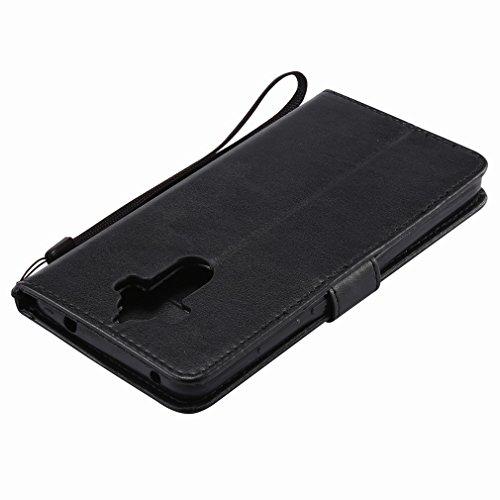 Yiizy Huawei Mate 9 Custodia Cover, Alberi Disegno Design Sottile Flip Portafoglio PU Pelle Cuoio Copertura Shell Case Slot Schede Cavalletto Stile Libro Bumper Protettivo Borsa (Nero)