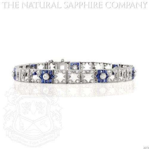 Art Deco Platinum, Sapphire and Diamond Bracelet, Circa 1915 (Art Deco Platinum Diamond Sapphire)