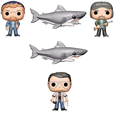 POP! Funko Movies Jaws Chief Martin Brody, Quint, Matt Hooper, Jaws (6-Inch), Jaws with Diving Tank (6-Inch) Action Figures (Set of 5)