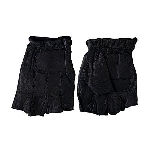 Hot Leathers Naked Leather Fingerless Gloves (Black, Large) Leather Naked Buffalo