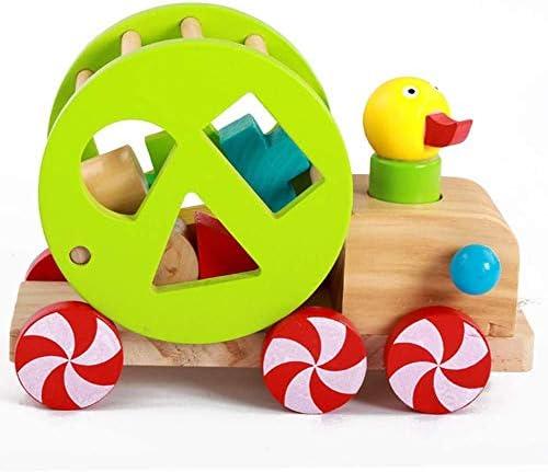 Baby 1-3 jaar oude houten puzzel Little Duck trekkoord Car Toy Kinderen Trailer Toy QQQNE