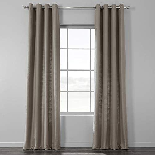 HPD Half Price Drapes BWLK-1855-120-GR Cotton Textured BarkWeave Grommet Curtain 1 Panel