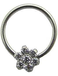 16G/14G Titanium Captive Bead Ball Closure Septum Cartilage Tragus Helix Conch Rook Earring Nipple Lobe Daith Piercing Ring With CZ Flower Top