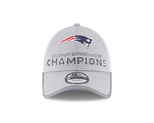 New England Patriots New Era 2017 AFC Champions Locker Room Trophy Collection 9FORTY Adjustable Hat – Heather Gray