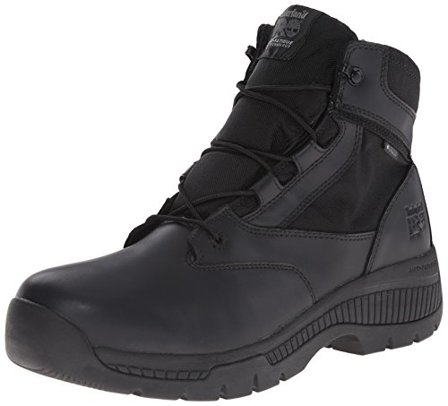 Timberland PRO Men's 6 inch Valor Soft Toe Waterproof Side Zip Work Boot, Black Smooth Leather Ballistic Nylon, 11.5 W (Leather Side Zip Fashion Boots)