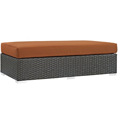 Modway Sojourn Outdoor Patio Rattan Rectangle Ottoman With Sunbrella Brand Tuscan Orange Canvas Cushions - Canvas Outdoor Ottoman