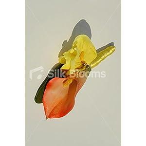 Bright Orange Calla Lily & Yellow Iris Buttonhole w/ Crystal Pin 4