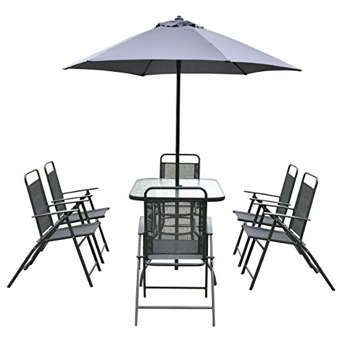 arden Set Furniture 6 Folding Chairs Table with Umbrella Gray New ()