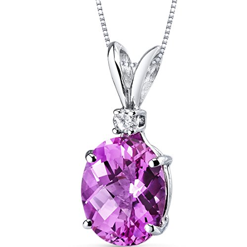(14 Karat White Gold Oval Shape 3.50 Carats Created Pink Sapphire Diamond Pendant)