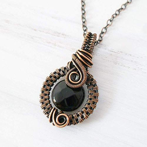 Black Onyx Copper Wire Wrapped Pendant Necklace 18