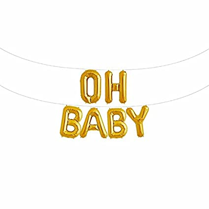 oh baby 16 inches foil letter balloons banner birthday party baby shower decorationgold
