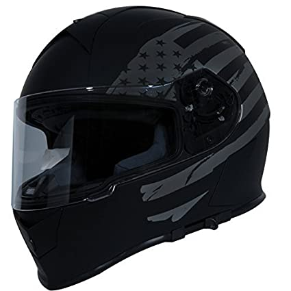 TORC Unisex-Adult T14 Mako Full Face Motorcycle Helmet with Graphic (Flag) (Flat Black, Large) MX-T1415FG24