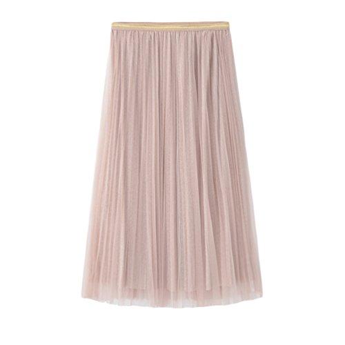 Yiiquanan Jupe Femmes Midi Taille Haute Vintage lgante Jupes Pliss Rtro Plisse en Tulle Couleur Pure Abricot Rose