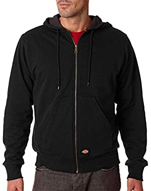 Adult Thermal-Lined Pocket Hooded Fleece Jacket, BLACK, XXX-Large