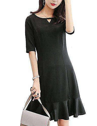 国置くためにパック変成器BolanVerl Vネック ブラックフォーマル ワンピース レディース マーメイドスカート ブラック フリル ドレス 黒 礼服 フォーマルスーツ 女性