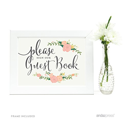 Andaz Press Wedding Framed Party Signs, Floral Roses, 5x7-inch, Please Sign our Guestbook, 1-Pack, Includes Frame