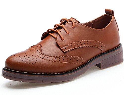 Brown Oxford Vintage Leather DADAWEN Flat Shoes Perforated Lace Brogues Women's Wingtip Oxfords up wz87wX
