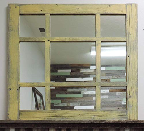 Cottage Style Mirrors - ABW Decor 27.5 X 27.5 Inches Vintage Large Square Cottage Style 9-pane Rustic Barnwood Mixed Window Pane Mirror, Varied Size Panes, Decorative Wooden Farmhouse. Multiple Color Options AllBarnWood