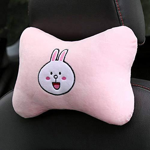 Tianmei 2PCS Cute Cartoon Pattern Car Headrest Pillow, Neck Rest Cushion Pillow, Car Neckrest Pad Head Support Pillow (Pink Rabbit - 1 Pair)