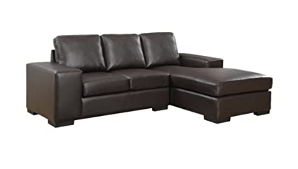 Superieur Monarch Specialties Dark Brown Bonded Leather/Match Sofa Lounger, 37 Inch